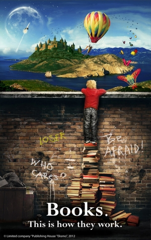 Boy standing on books poster