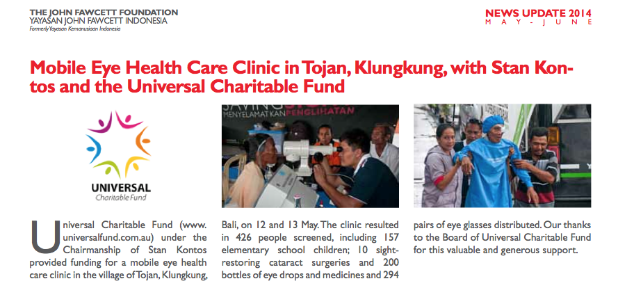 John Fawcett Foundation newsletter May 2014
