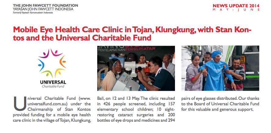 John Fawcett Foundation newsletter May 2014